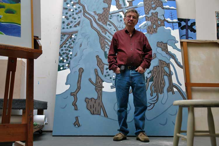The painter Curtis Hoekzema in his studio. Curtis Hoekzema, Venice California.