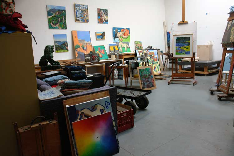 The studio of the Venice painter, Curtis Hoekzema.